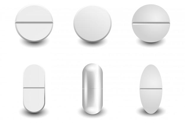 Conjunto de comprimidos brancos realistas de vetor diferente isolado