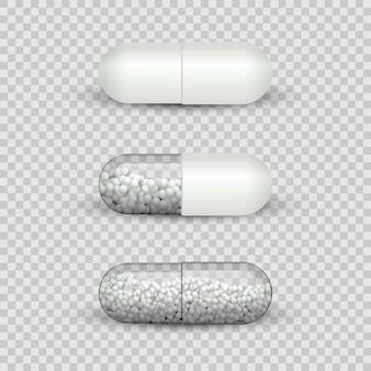Conjunto de comprimidos cápsula isolado em fundo transparente.
