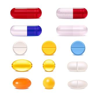 Conjunto de comprimidos e cápsulas de medicamento colorido
