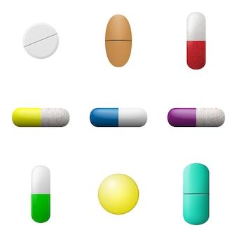 Conjunto de comprimidos e cápsulas. ícones de drogas de farmácia. símbolos de medicamento.