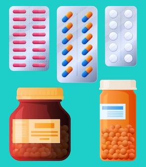 Conjunto de comprimidos em barris e placas ilustração de saúde humana