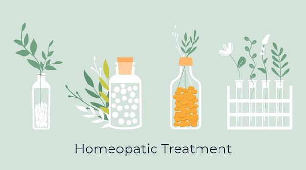 Conjunto de comprimidos homeopáticos naturais orgânicos verdes em potes de vidro. tratamento homeopático.