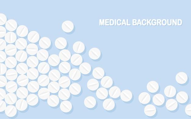 Conjunto de comprimidos, medicamentos, drogas. comprimido analgésico, vitamina, antibióticos farmacêuticos. formação médica.