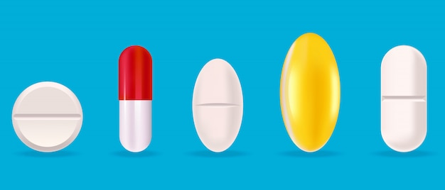 Conjunto de comprimidos médicos. comprimidos em estilo realista.