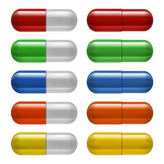 Conjunto de comprimidos médicos, cores diferentes. ilustração