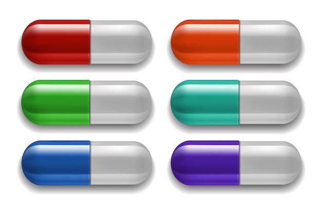 Conjunto de comprimidos médicos, cores diferentes.