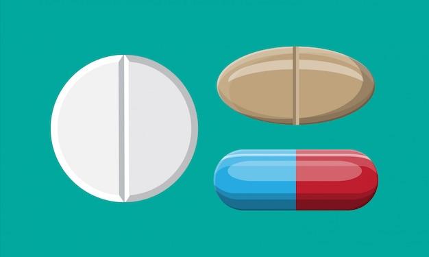 Conjunto de comprimidos para tratamento de doenças e dores.