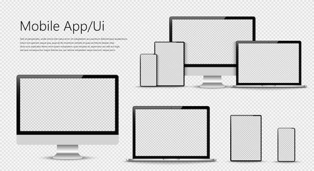 Conjunto de computador, laptop, smartphone com telas vazias.