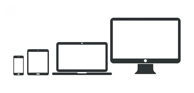 Conjunto de computador, laptop, tablet e smartphone