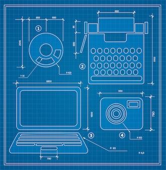 Conjunto de computador pessoal de projecto de esboço de plano de projeto