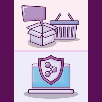 Conjunto de computador portátil com ícones de negócios eletrônicos