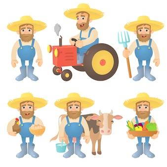 Conjunto de conceito de agricultor
