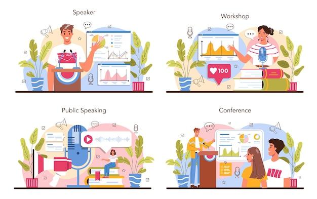 Conjunto de conceito de alto-falante. especialista em retórica ou elocução falando ao microfone. seminário de negócios ou palestrante. transmissão ou endereço público. ilustração vetorial plana