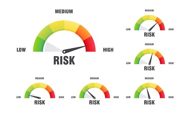 Conjunto de conceito de alto risco na ilustração vetorial de velocímetro, ícone do velocímetro. vetor de elemento de medidor de infográfico colorido