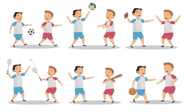 Conjunto de conceito de atividade esportiva infantil