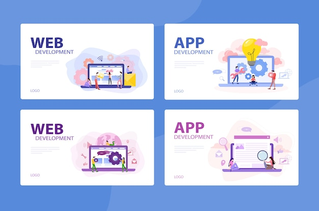 Conjunto de conceito de banner de desenvolvimento web e aplicativo móvel. aplicativo de programação para dispositivo digital. criação de interface para o usuário. ilustração em grande estilo