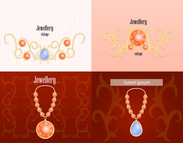 Conjunto de conceito de banner de luxo mulher joias