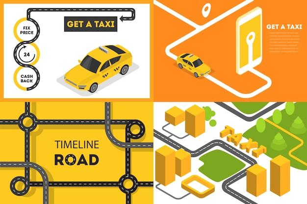 Conjunto de conceito de banner de reserva de táxi. encomendar carro