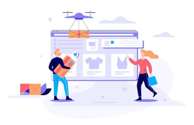 Conjunto de conceito de banner de web de compras online. comércio eletrônico