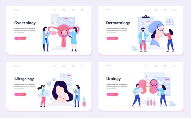 Conjunto de conceito de banner web de especialidades médicas. ginecologia