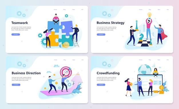 Conjunto de conceito de banner web de estratégia empresarial. pesquisa de mercado