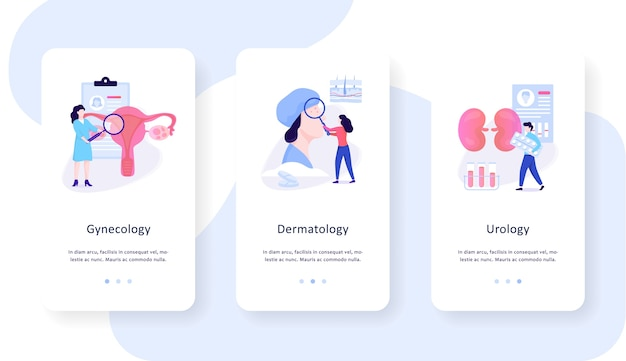 Conjunto de conceito de banner web móvel de especialidades médicas. ginecologia, dermatologia e urologia. tratamento de doenças, saúde. ilustração em grande estilo