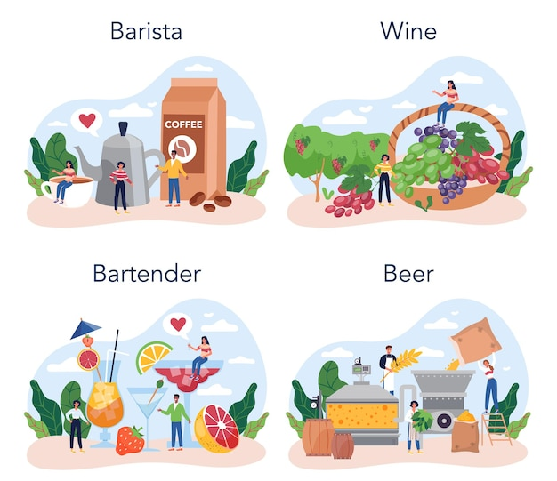 Conjunto de conceito de barman. barista em pé no balcão do bar fazendo café. fabricação de vinho e cerveja. barman preparando bebidas alcoólicas com shaker no bar. ilustração em vetor plana isolada