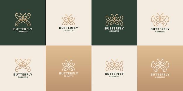 Conjunto de conceito de borboleta cosmética de design de logotipo de beleza com cor dourada