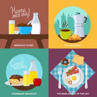 Conjunto de conceito de café da manhã