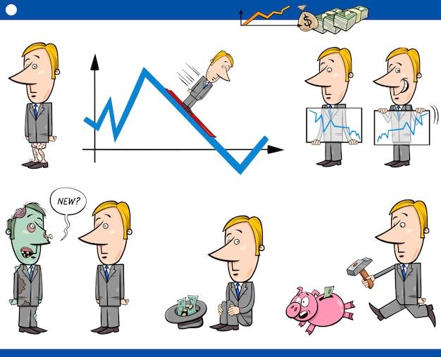 Conjunto de conceito de cartoon de negócios
