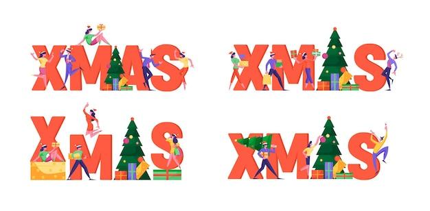 Conjunto de conceito de celebração de natal para férias de inverno