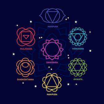 Conjunto de conceito de chakras do corpo colorido