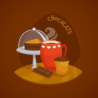 Conjunto de conceito de chocolate