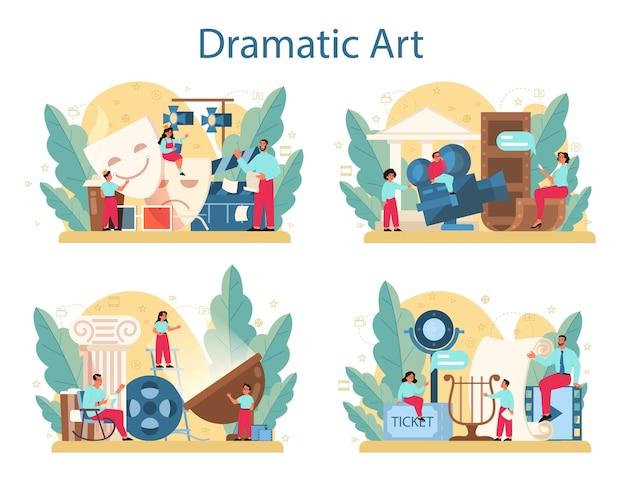 Conjunto de conceito de clube de drama. assunto criativo de crianças, jogo escolar. criança estudando atuação no palco e arte dramática.