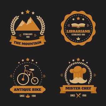 Conjunto de conceito de coleção de logotipo retrô
