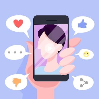 Conjunto de conceito de comunicação online através de telefone móvel
