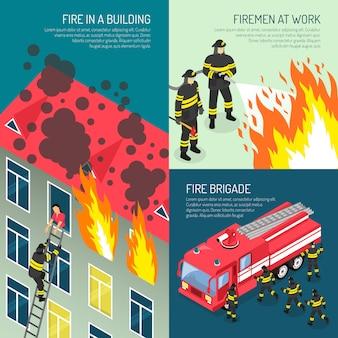 Conjunto de conceito de design de bombeiros