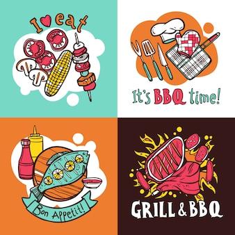 Conjunto de conceito de design de churrasco grill