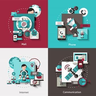 Conjunto de conceito de design de comunicação