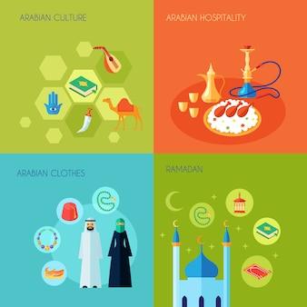 Conjunto de conceito de design de cultura árabe
