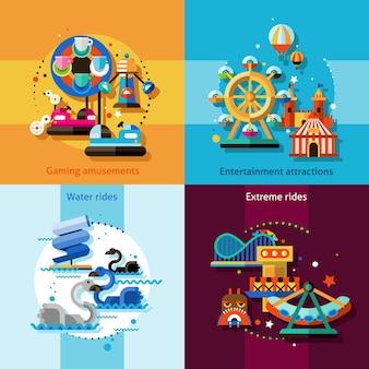 Conjunto de conceito de design de diversão