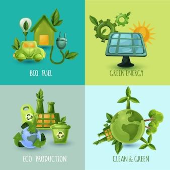 Conjunto de conceito de design de ecologia