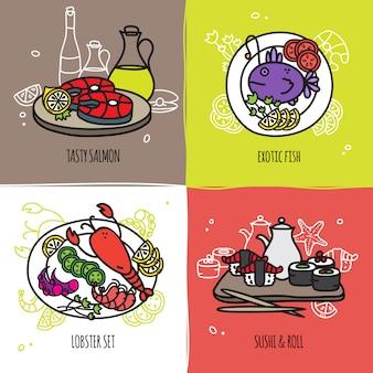 Conjunto de conceito de design de frutos do mar