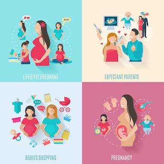 Conjunto de conceito de design de gravidez