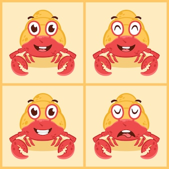 Conjunto de conceito de design de ícone de ilustração vetorial de caranguejo eremita bonito