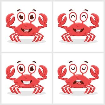 Conjunto de conceito de design de ícone de ilustração vetorial de caranguejo fofo