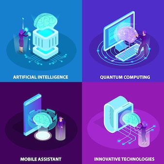 Conjunto de conceito de design de inteligência artificial 2x2 de tecnologias inovadoras ícones de brilho isométrico de assistente móvel de computação quântica