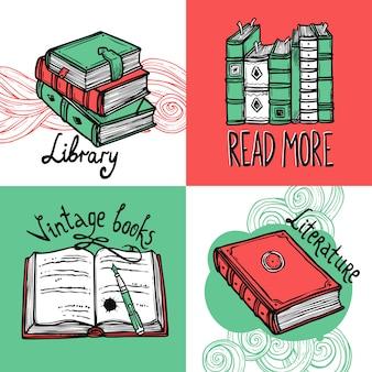 Conjunto de conceito de design de livros