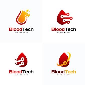 Conjunto de conceito de design de logotipo da pix blood technology, modelo de design de logotipo da blood healthcare