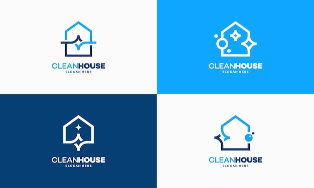Conjunto de conceito de design de logotipo de casa limpa contorno simples, vetor de logotipo de serviço de limpeza